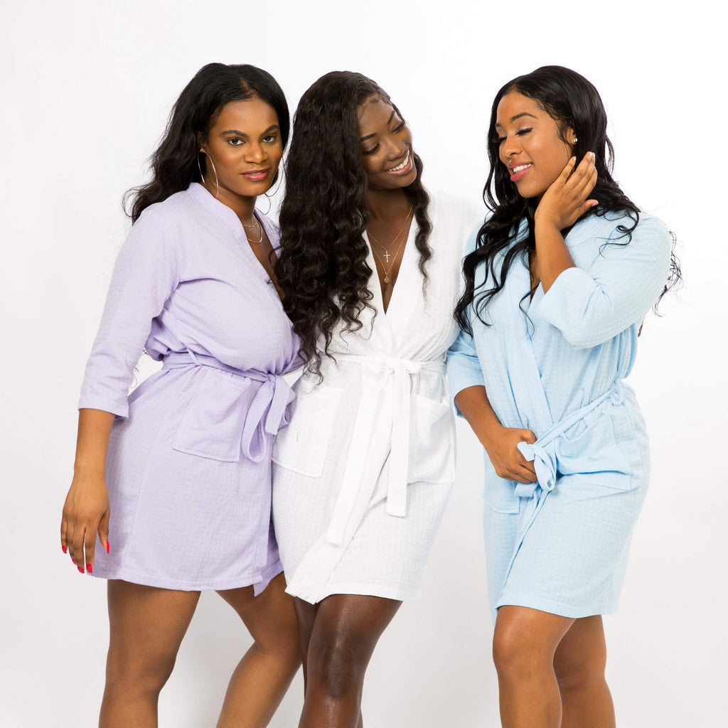 Plus size Lavander Cotton Waffle Knit Bridesmaids Robes - Bridesmaid's World
