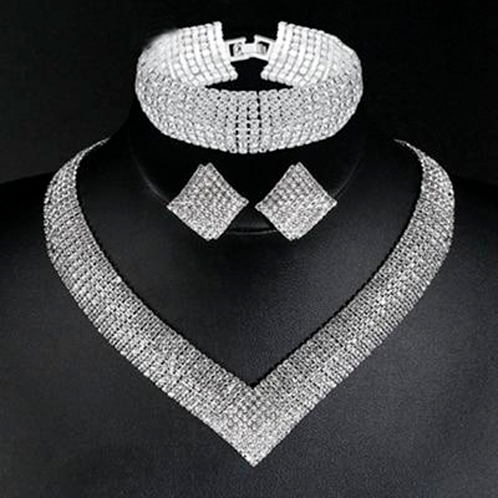 Luxury Classic Crystal Bridal Jewelry Set for Women Clear Rhinestone Wedding Bracelets Necklace Sets