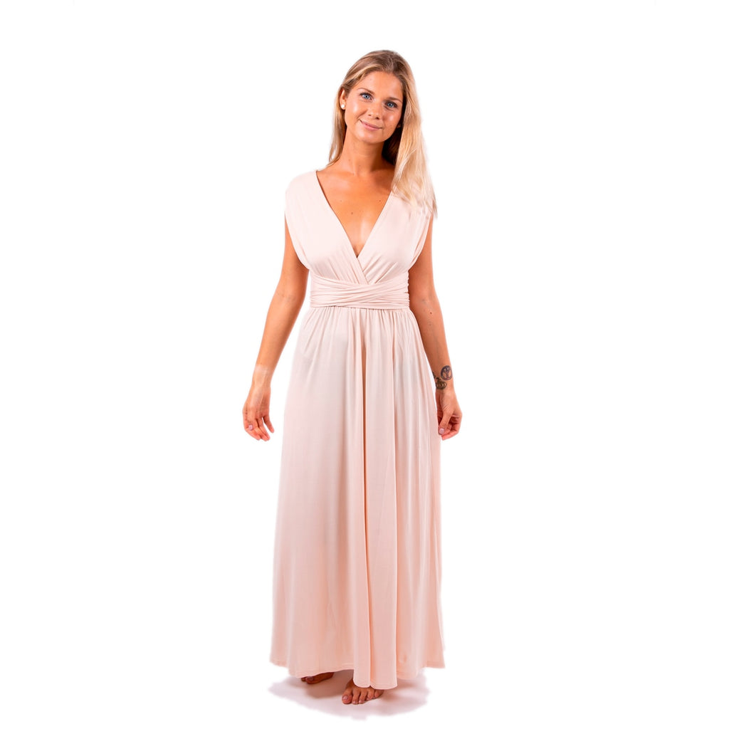 Champagne Maxi Bridesmaid Convertible Infinity Dress