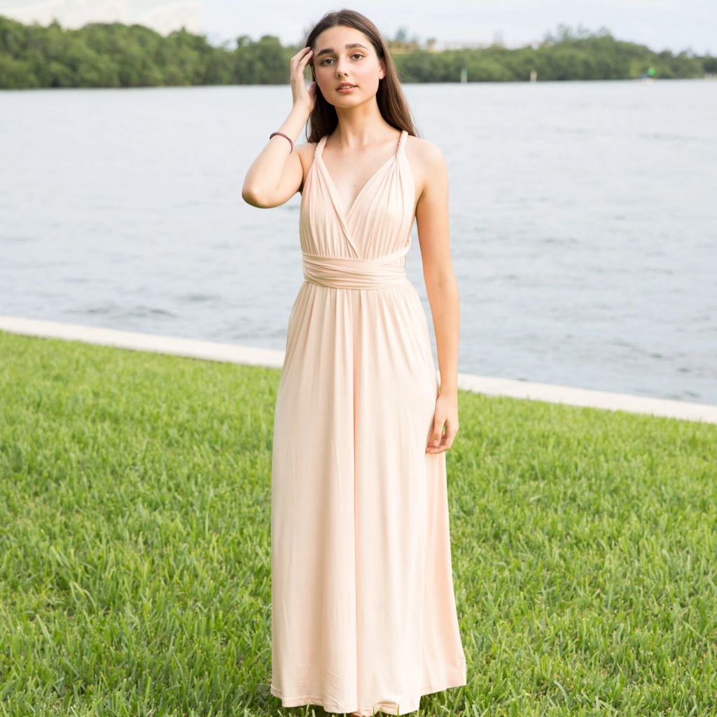 Champagne Maxi Bridesmaid Convertible Infinity Dress - Bridesmaid's World
