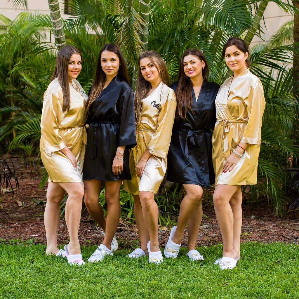 Plus size Gold satin bridesmaid robes - Bridesmaid's World
