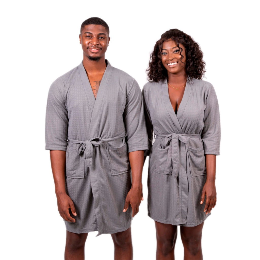 Cotton Waffle-knit Customized King and Queen Matching Robes for Couples Set