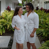 Cotton Waffle-knit his and hers Robes Set for Couples