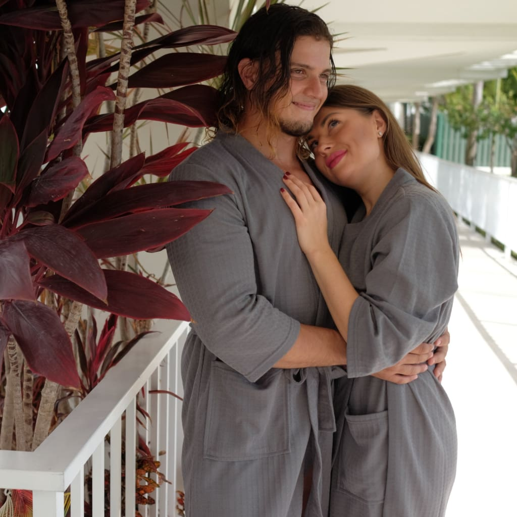 Cotton Waffle-knit Honeymoon bathrobes - Bridesmaid's World