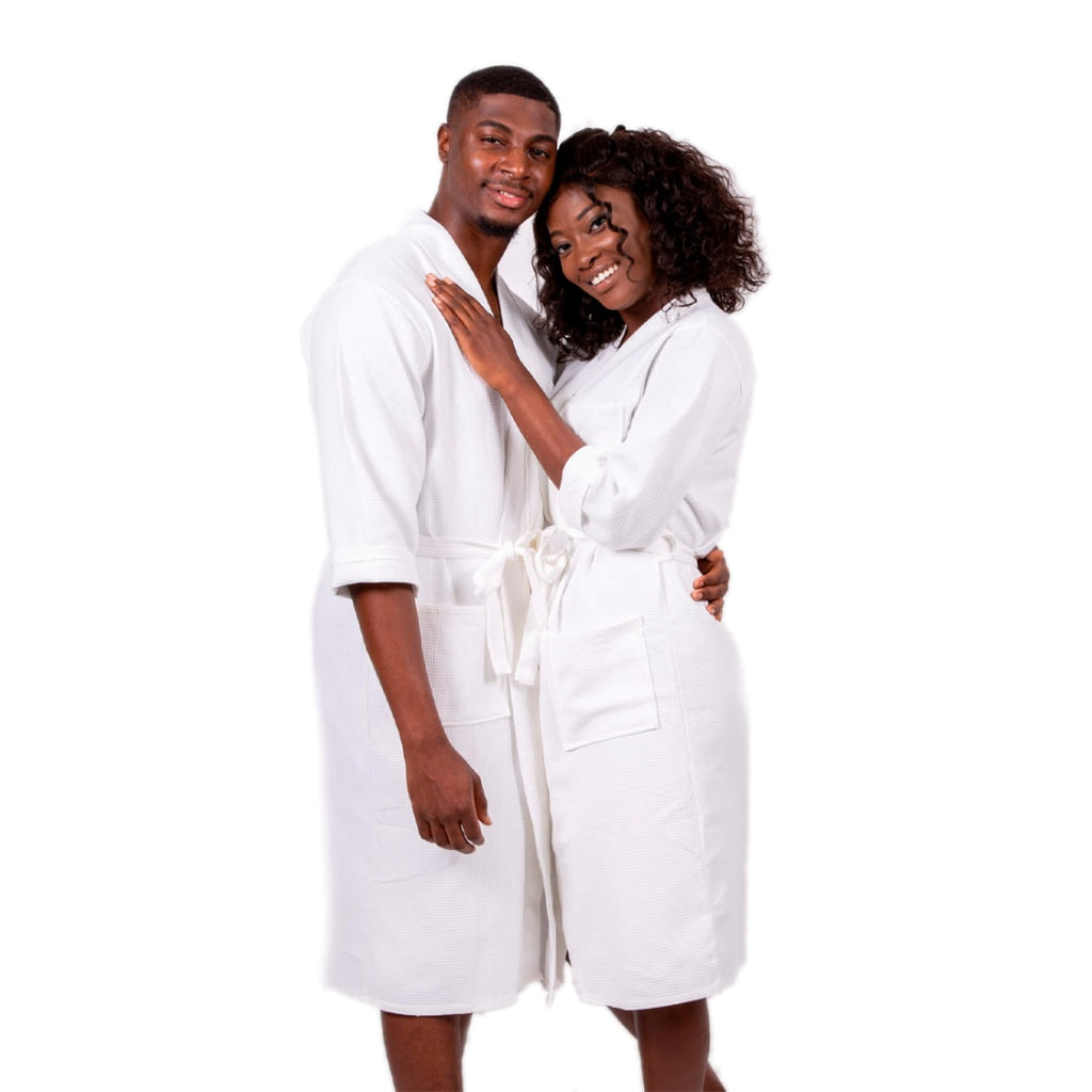 Cotton Waffle Long his and hers Matching Bathrobes Set