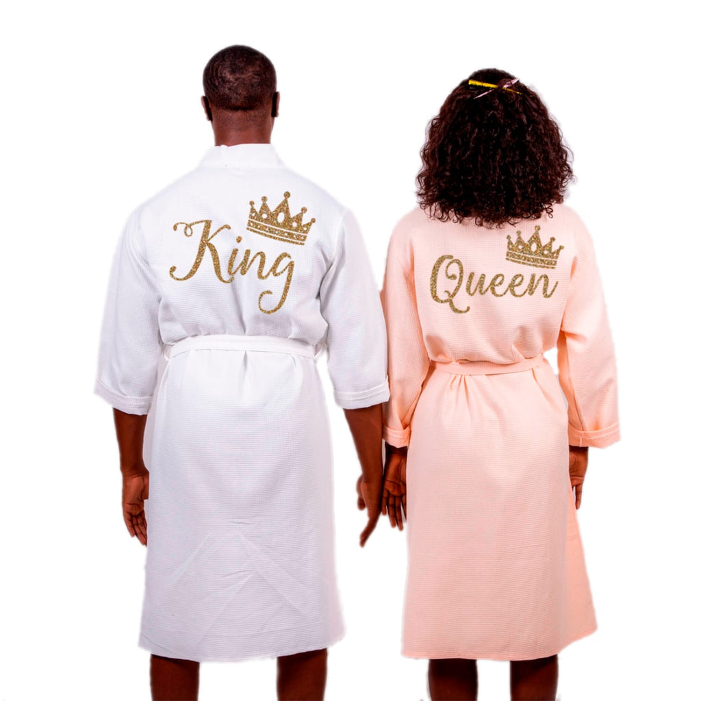 Cotton Waffle Long King and Queen Matching Bathrobes Set