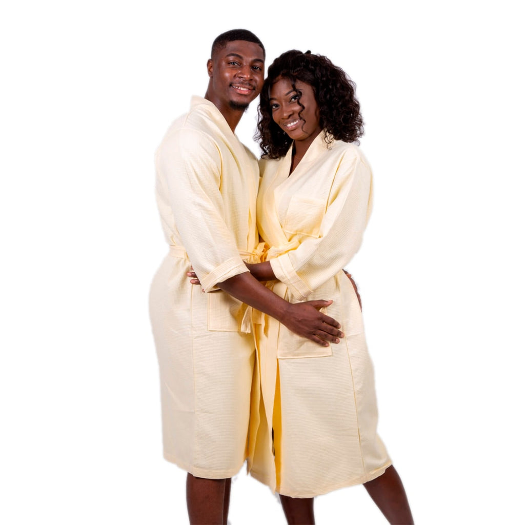 Cotton Waffle Long King and Queen Matching Robes for Couple Set