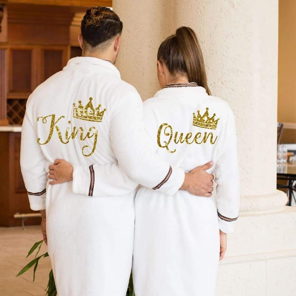 King and Queen Personalized Terry Bathrobes with brown Ribbon - Bridesmaid's World