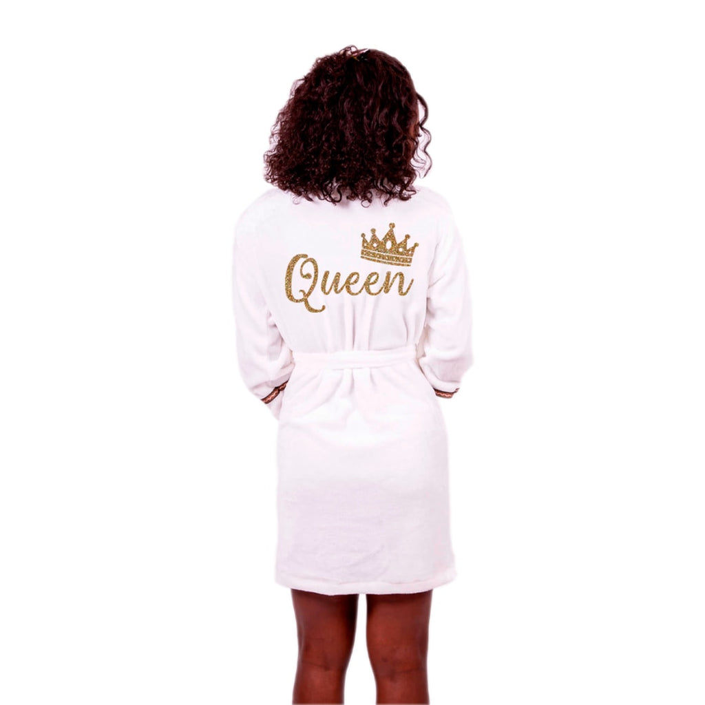 Cozy Terry with Brown Border King and Queen Personalized Bathrobe Set