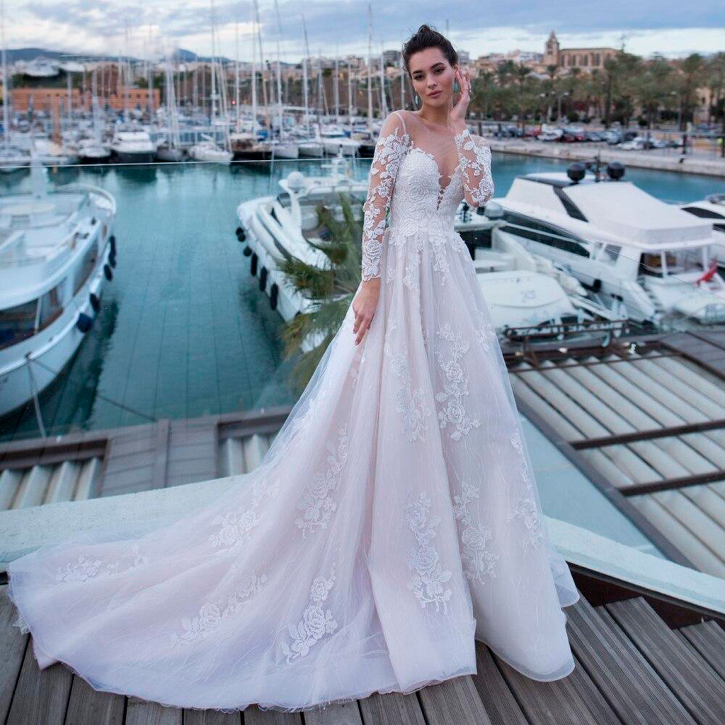 Long Sleeve Sexy Backless Lace Wedding Dresses