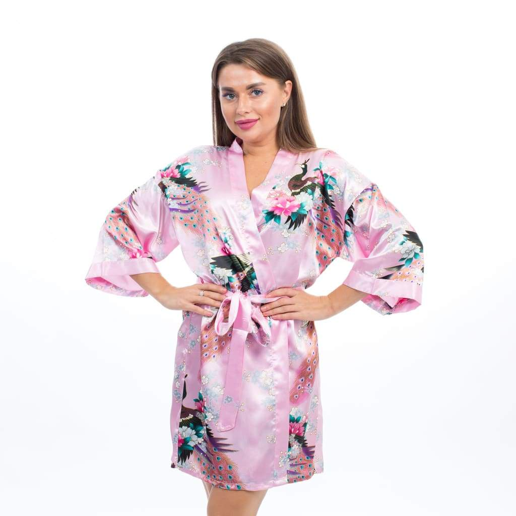 Floral Peacocks Bridesmaids Kimono Robes