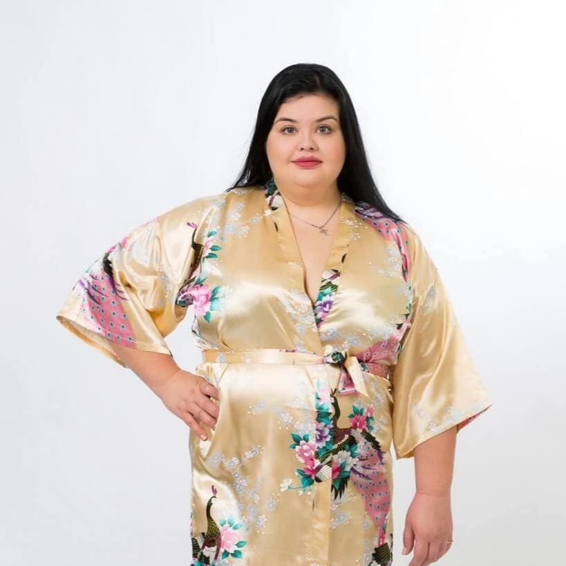 Floral Peacocks Kimono Robes - Bridesmaids World