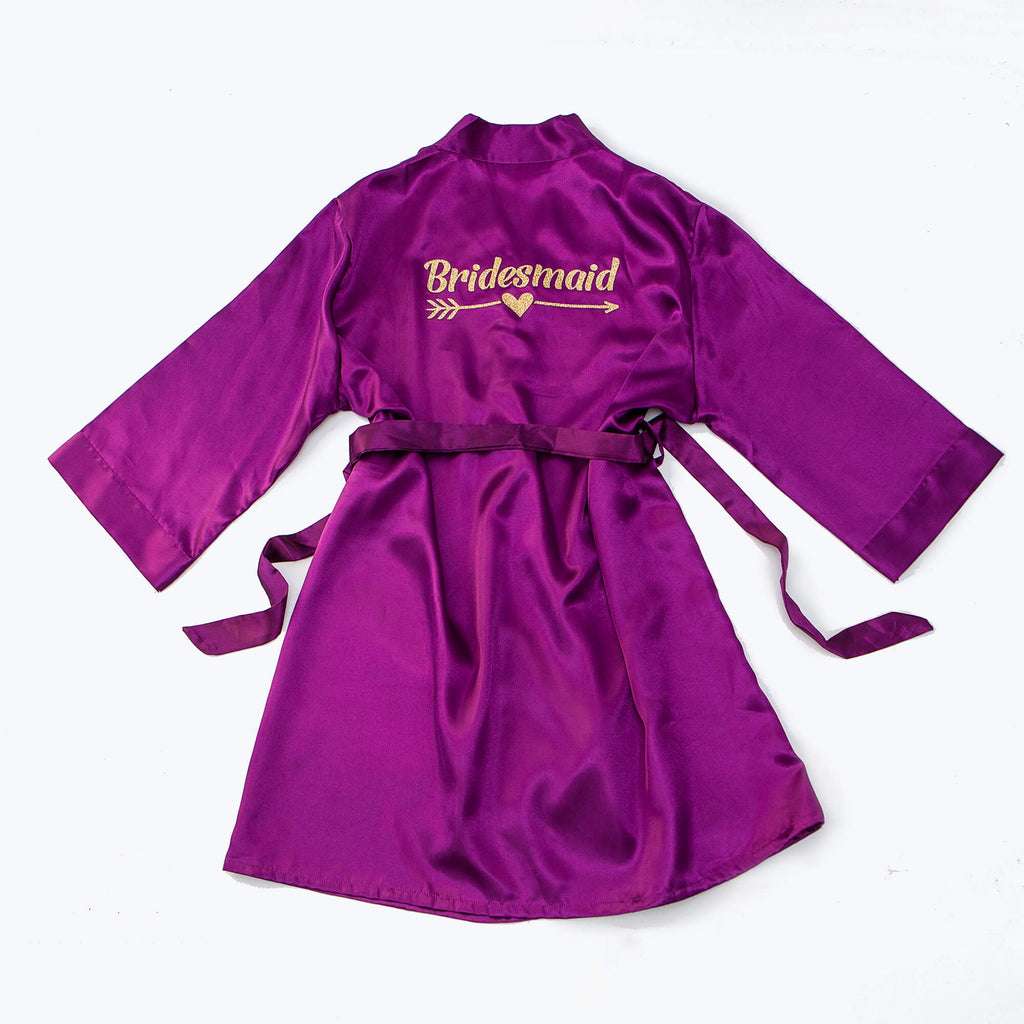 "Sample Sale - Satin Purple robes ""Bridesmaid"" in Gold Glitter, Size: S, L, XL"