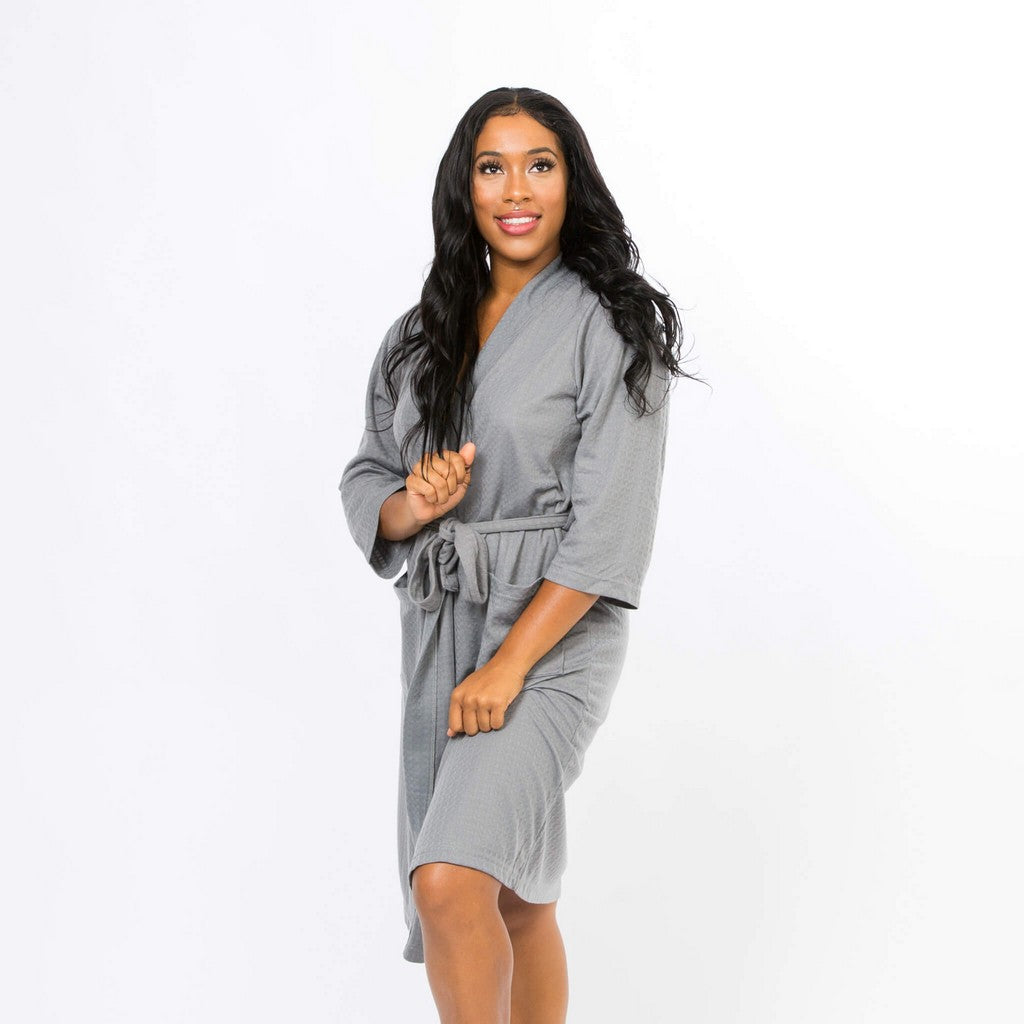 Plus size Grey Cotton Waffle Knit Bridesmaids Robes - Bridesmaid's World