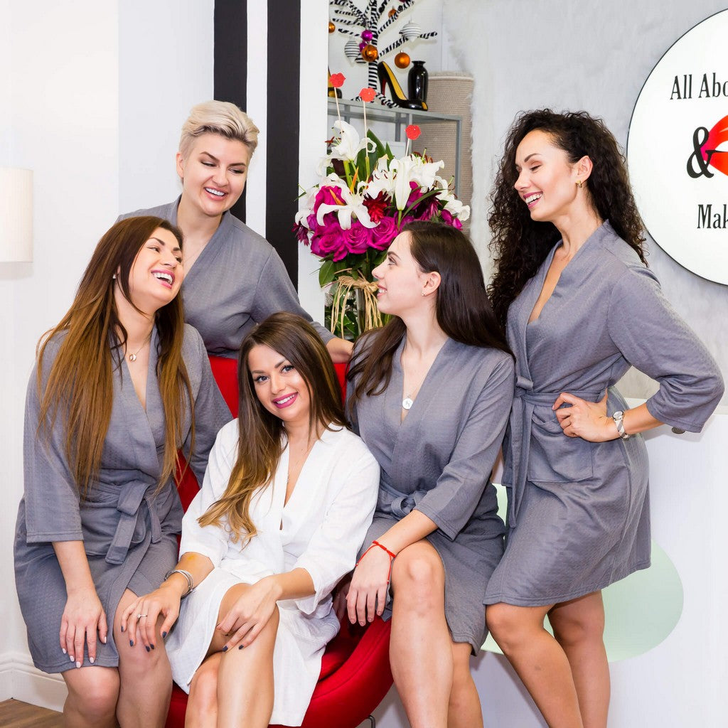 Grey Cotton Waffle Knit Bridesmaids Robes - Bridesmaid's World