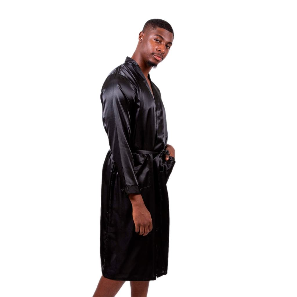 "Sample Sale - Men Satin Black Robes ""Groom"" in White glitter, Size: S"