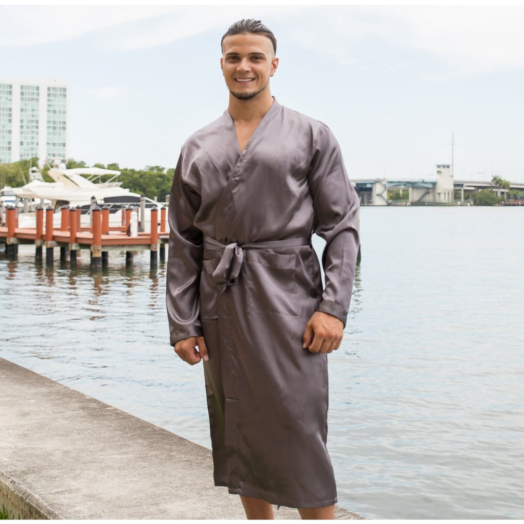 Halloween Black Men's Long Satin Robes - Bridesmaid's World