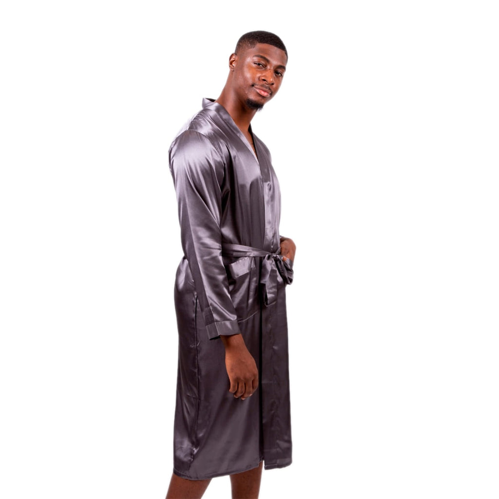 Halloween Black Men's Long Satin Robes