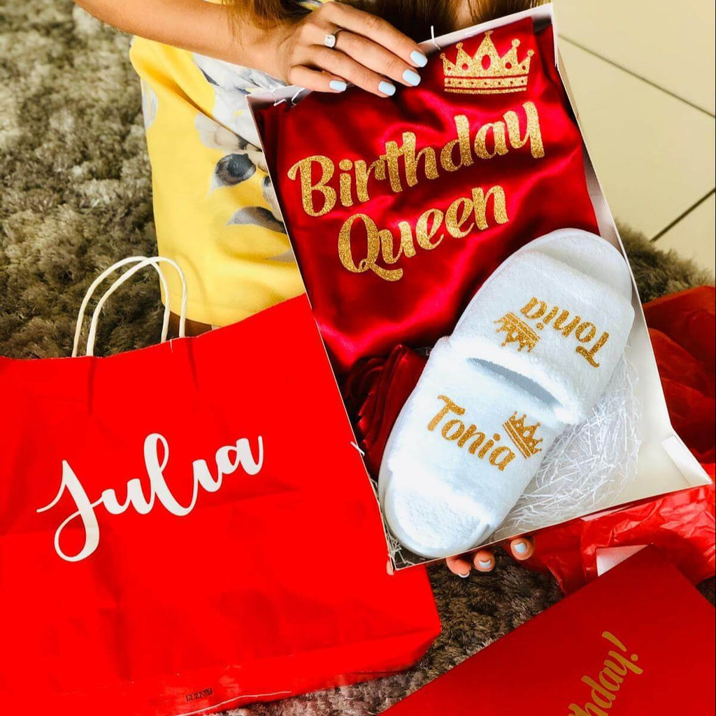 Happy Birthday Gift Box Satin Customized robes + slippers