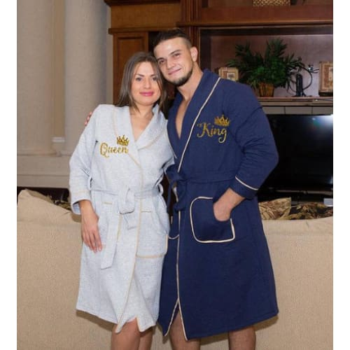 His and Hers Personalized Matching Collar Bathrobes for Couples - Bridesmaid's World