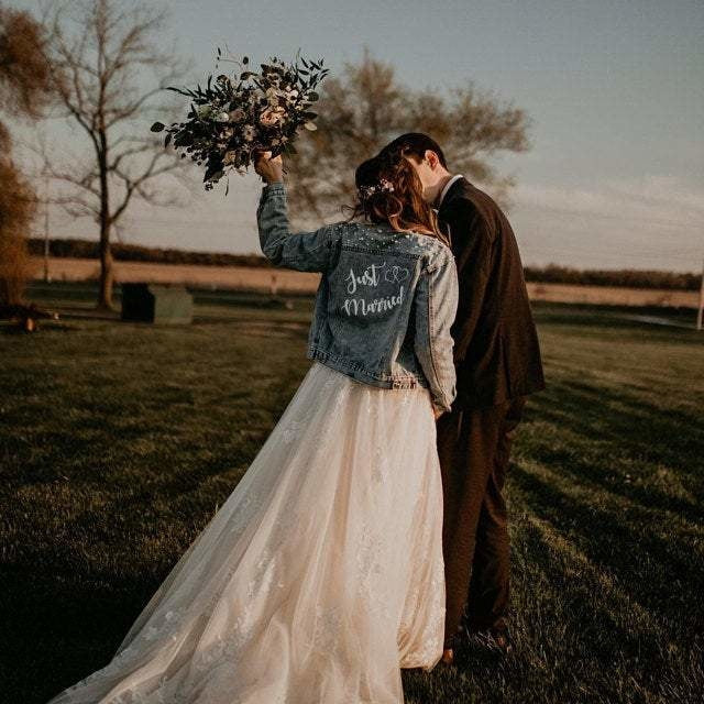Just Married Custom Denim Jacket with Pearls