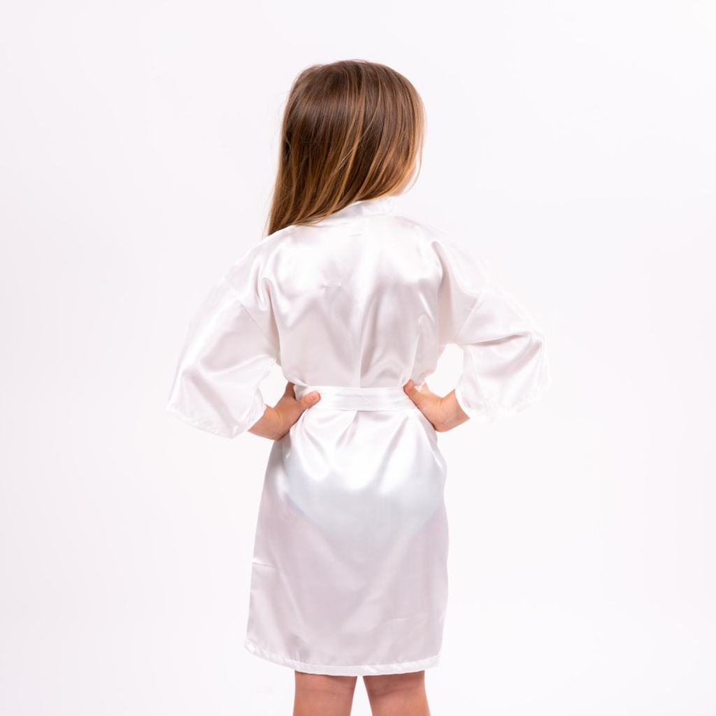 "Sample Sale - Kids Satin White Robes ""Unicorn"" In Purple Glitter, Size: 4T, 6T"
