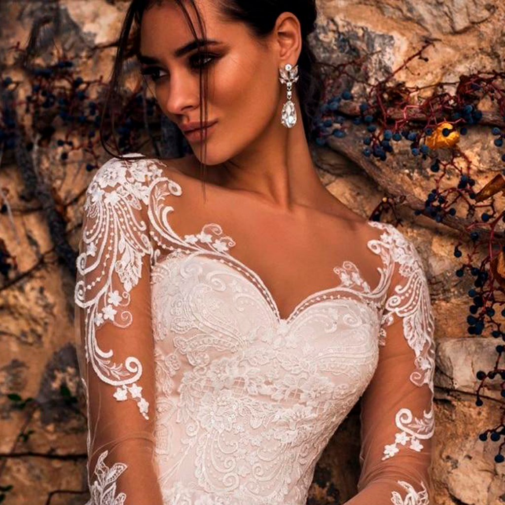 Sexy Illusion Long Sleeve Vintage Wedding Dresses