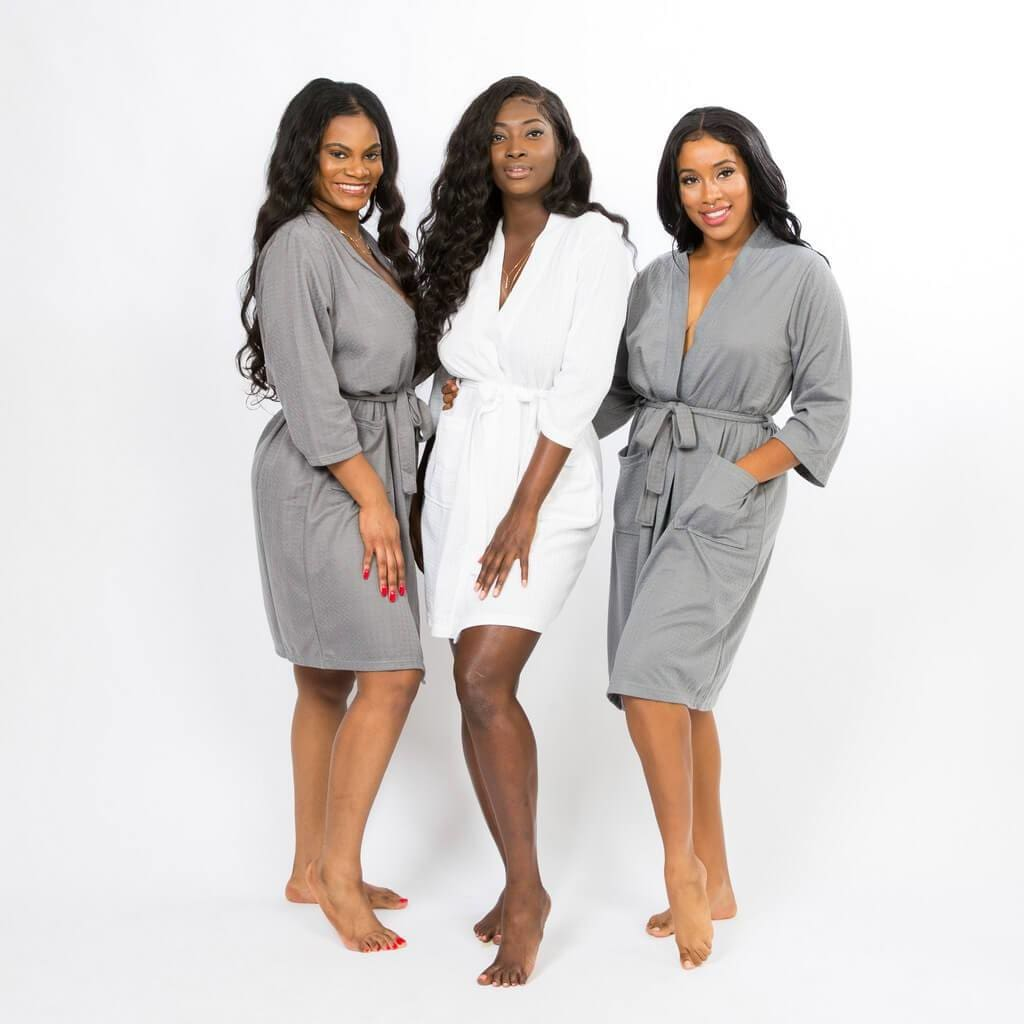 Lavender Waffle Customized Cotton Robes - Bridesmaids World