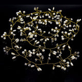 Gold Crystal Pearls Long Hair Vine - Bridesmaid's World