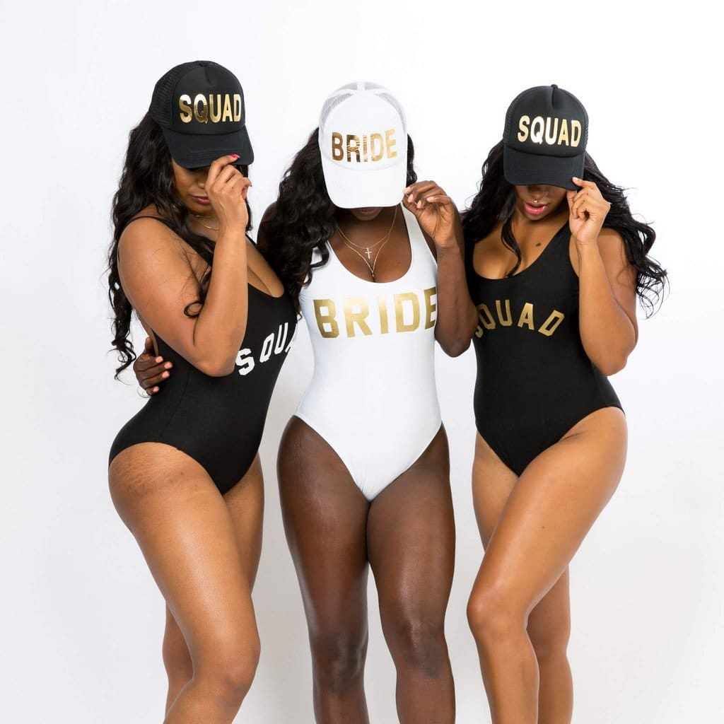 Matching Squad One-Piece Swimsuits - Bridesmaids World