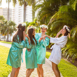 Plus size Mint satin bridesmaid robes - Bridesmaid's World