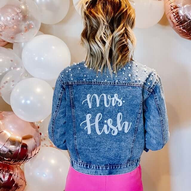Mrs Bridal Customized Denim Jacket with Pearls