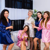 Plus size Navy satin bridesmaid robes - Bridesmaid's World