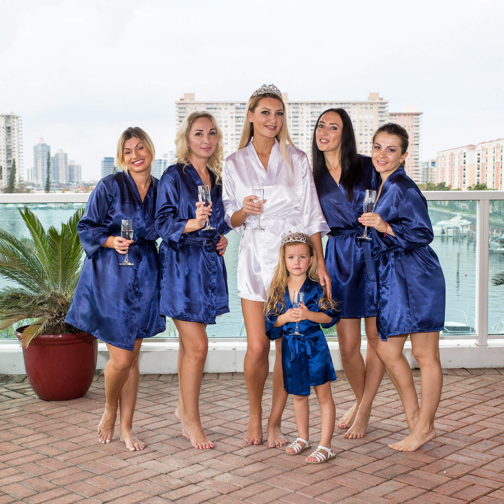 Satin Navy Bridesmaid Robes Bridesmaid S World