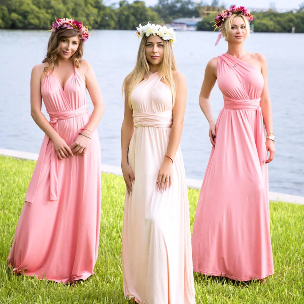 Pink Infinity Multi Way Wrap Dress - Bridesmaid's World