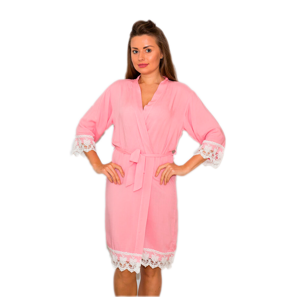 Cotton Lace Light Pink Bridesmaid Robes