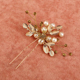 Pearl Gold Leaves Hair Pins - Bridesmaid's World