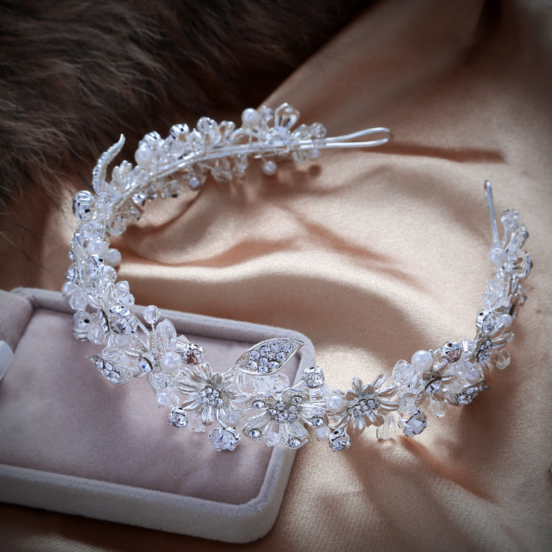 Handmade Sparkling Crystal Wedding Bride Flower Tiara Coroa Headband Bridal Women prom Crowns