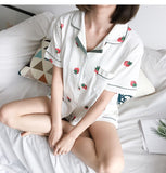 Cotton Pajama with Lovely Strawberry Printing Short Sleeve and Shorts