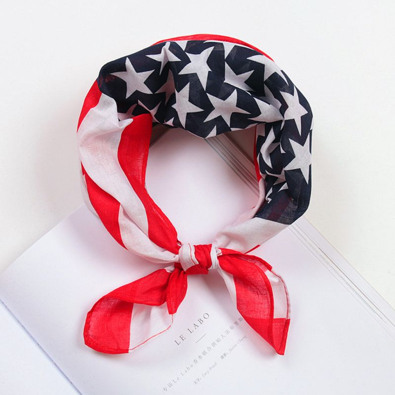 50x50CM Unisex Cotton Sport Pocket Square Scarf American Flag Stripes Star Print