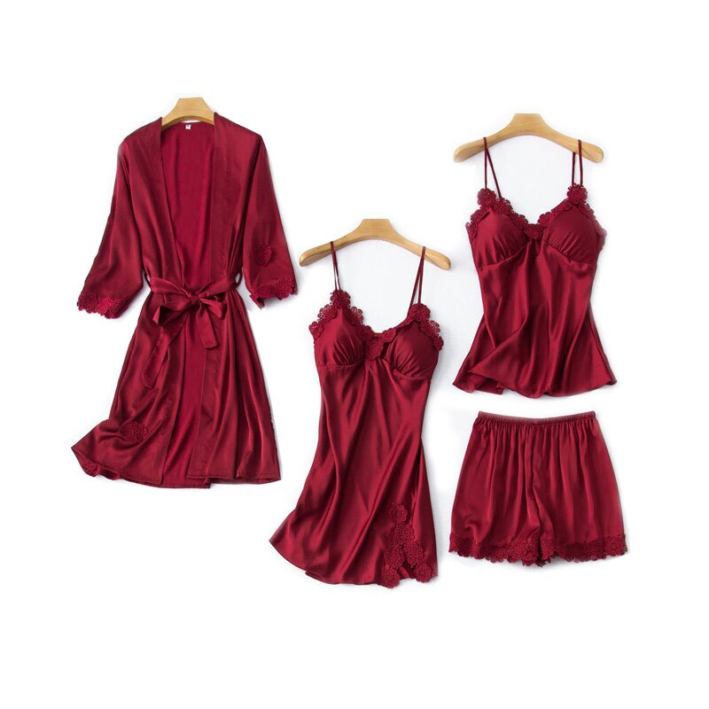 Comfort Silk Satin  4Pcs Set Sexy Lace Sleepwear