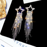 Fashion Long Tassel Crystal Earrings for Women Luxury Shiny Gold Color Star Dangle Earrings Jewelry Gifts