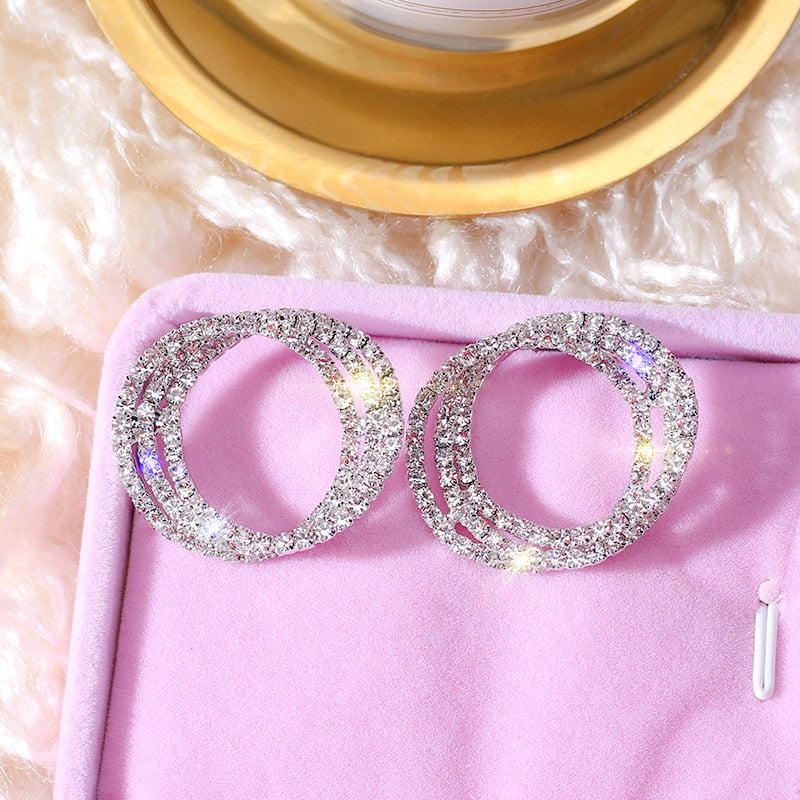 Fashion Korean Style Small Circle Stud Earrings Luxury Gold Silver Color Rhinestone Earring Women Weddings Party Jewelry