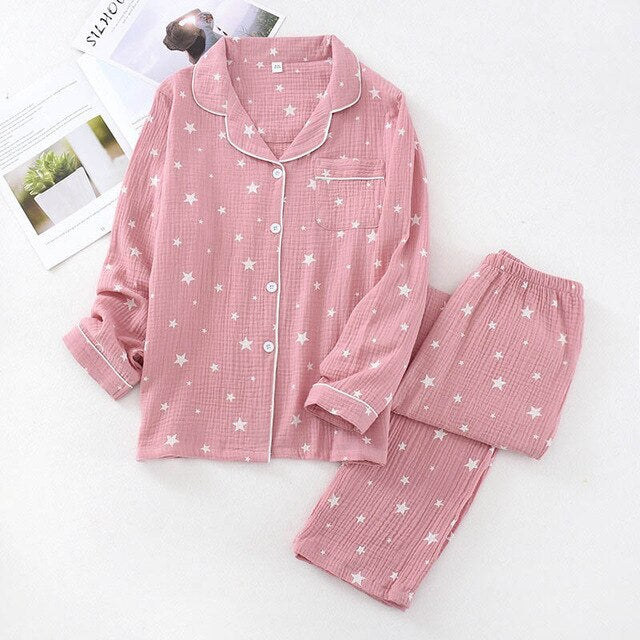 Couple Cotton Pajama with Star Printed