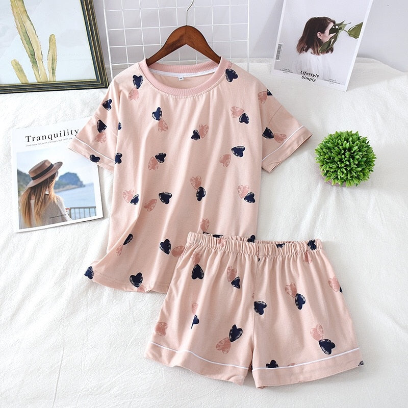 Cotton Pajama with Heart Printed Short Sleeve and Shorts