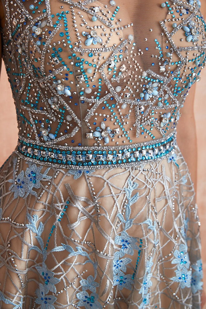 Gorgeous Evening Dress Lace Beaded Crystal Rhinestone Sheer