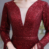 Dark Red Evening Dress Gorgeous Plunging V-Neck