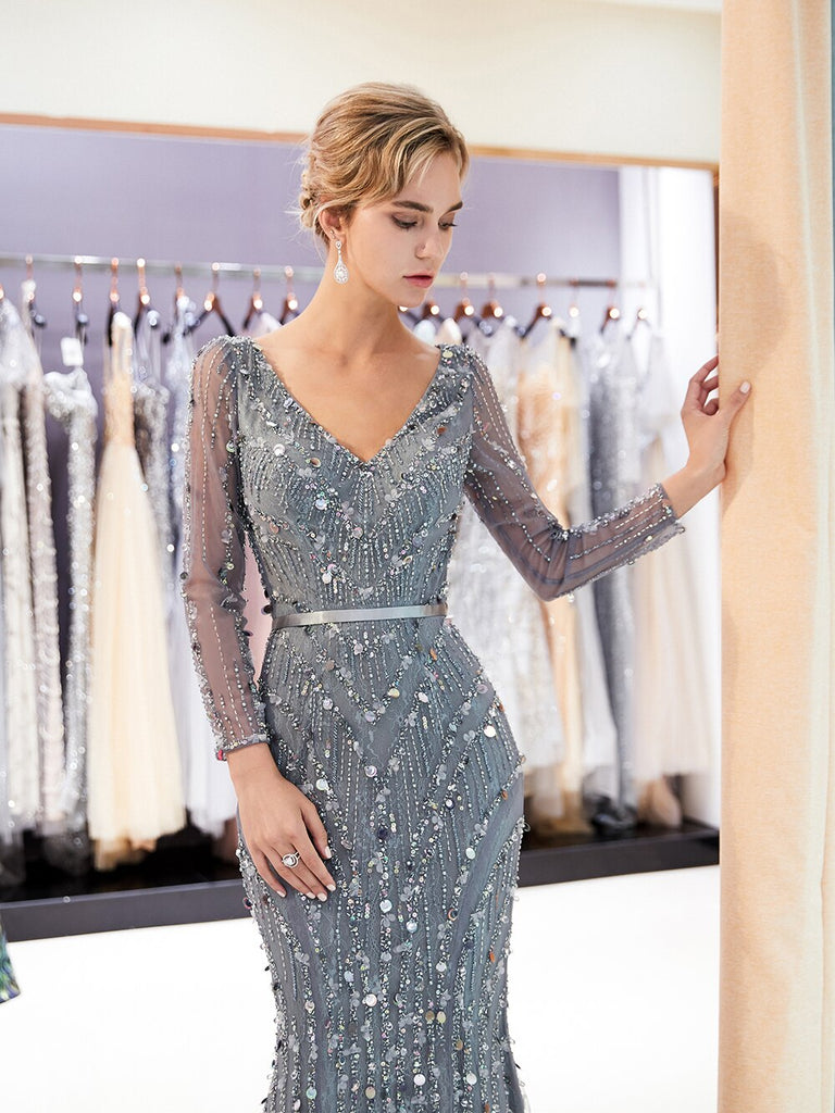 Evening Dress Mermaid V Neck Long Sleeve