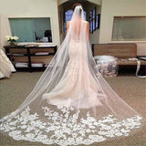 Long Bridal Veil with Comb Lace Appliqued Edge Tulle Bride Veil One Layer