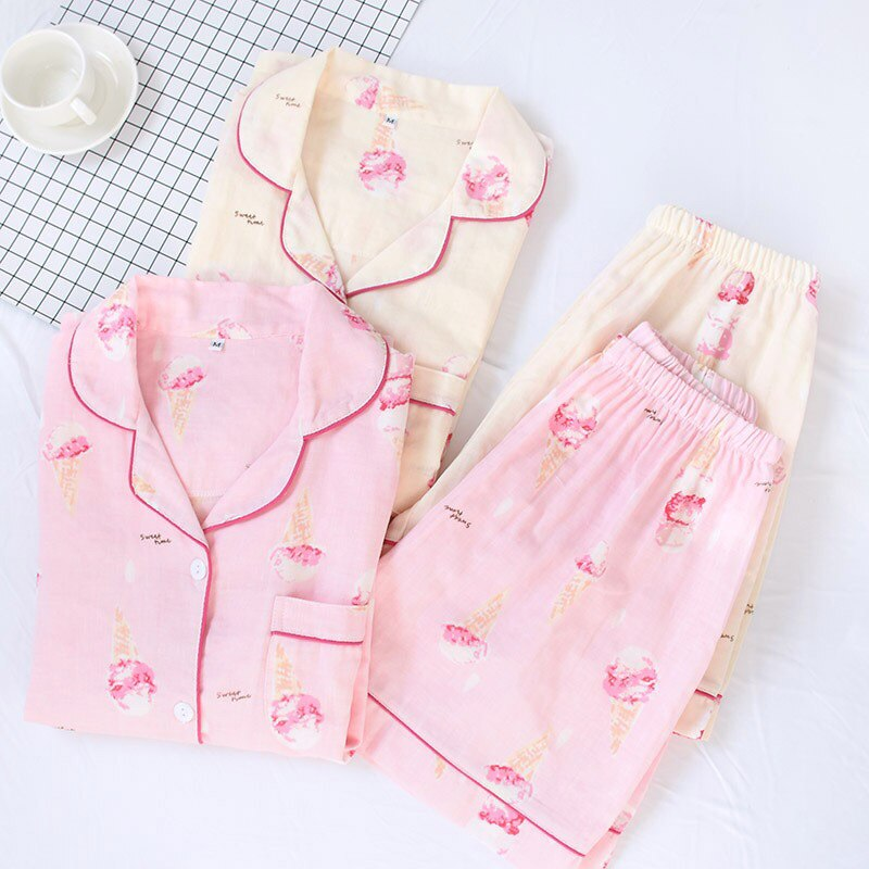 Pajamas Set Cartoon Ice-Cream Printed Short Sleeve+Shorts